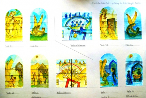 Window schemes for the churches of Nebersdorf and Spitzzicken